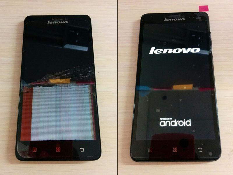 Фото телефона lenovo с разбитым экраном и после ремонта