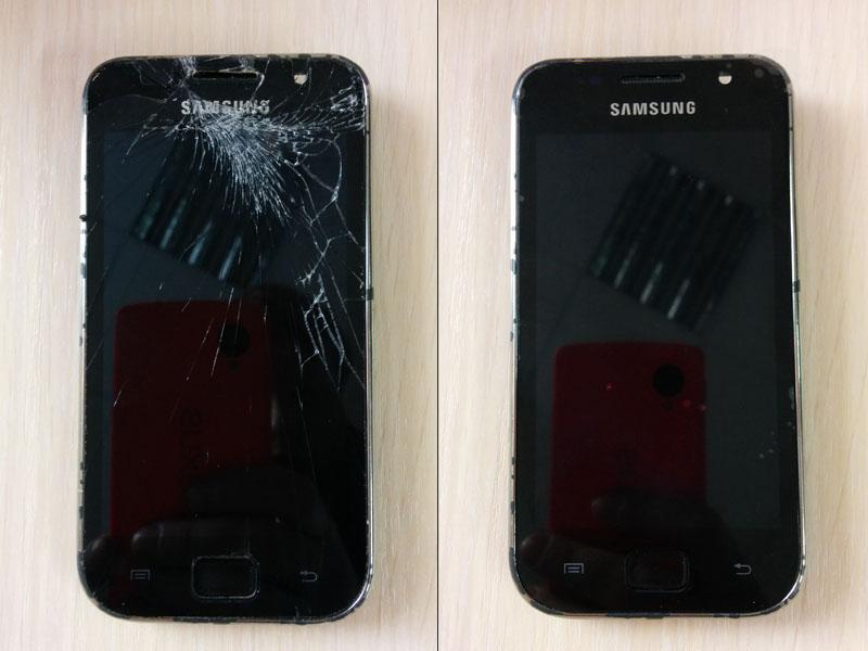 Фото телефона samsung с разбитым экраном и после ремонта